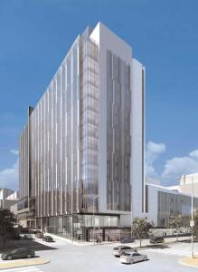 The proposed Cathedral Hill Hospital as seen from Van Ness at Geary. (Image courtesy of the 2008 CPMC Institutional Master Plan)