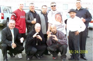 Peña crouching on lower right,  Tony Lucero to his left with friends in 2008. (Louis Lucero)