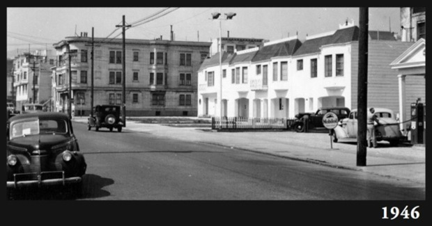 This photo from 1946 shows Cesar Chavez Street was a two-lane road.