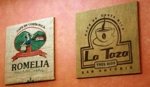 coffee sacks decorate La Taza