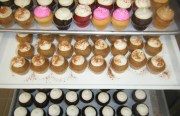 An assortment of mini cupcakes sit on display at the new Mission Minis storefront.