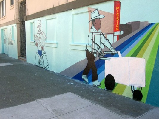 "The mural is by Francisco ""Twick"" Aquino and focuses on Latino street carts and vendors."