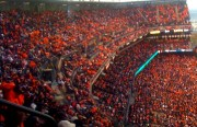 "The ballpark was a sea of orange ""wearable blankets"" at Friday's game. (Photo by Rigoberto Hernandez)"