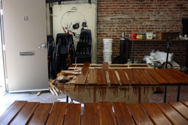 Freshly varnished boards. REBAR has plans to turn this section of the warehouse (formerly a tattoo parlor) into a coffeeshop.
