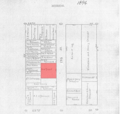 This block map from 1894 shows the Treat property (highlighted in red) situated on Hampshire Street after several subdivisions that reduced the property to a fraction of its size 33 years earlier. Map courtesy of San Francisco Planning Department.