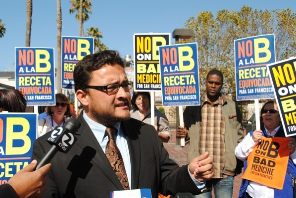 "District 9 Supervisor David Campos opposes the measure. ""You're talking about premiums doubling for working people in San Francisco"" he said, ""you're talking about families no longer being able to provide health care for their children. Is that the kind of city that we want to be? That's not the San Francisco way."""