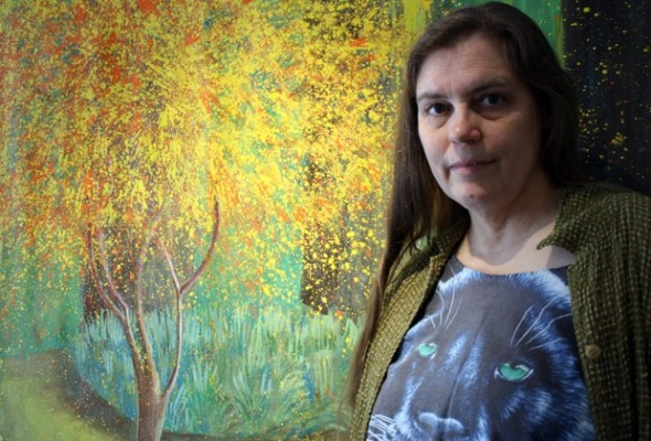 """""""Hilary's Garden,"""" behind Dana Smith, was inspired by a friend's backyardin San Mateo. """"The Bay Area has amazing light- the way it's mediated by the fog,"""" she said."""