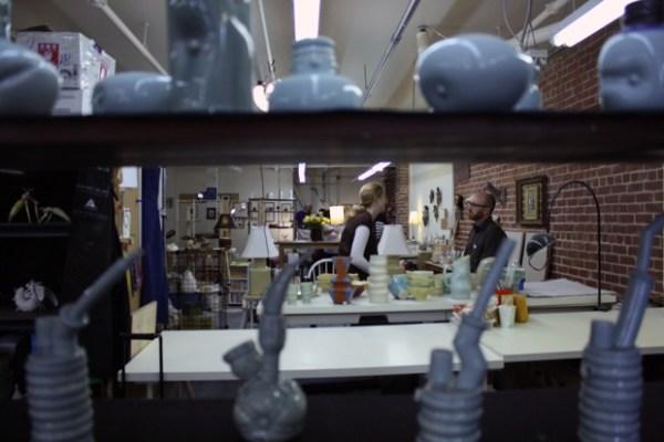 Mitsu Kimura (not pictured) displayed dozens of ceramics inside Red Brick Studio on Mission Street.