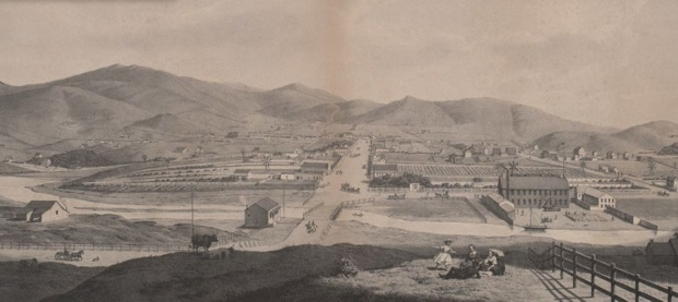 The Mission, depicted here circa 1860, consisted of small farming operations, modest single-family homes, a few dirt roads, and race tracks. Image courtesy of Bancroft Library.