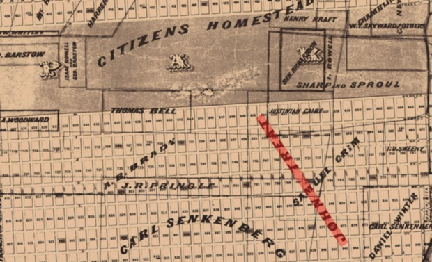 "The same city map from 1870 indicated that John Treat owned a sizeable piece of land in the Sunset District. ""Clearly both of the Treats were involved in speculative real estate"" a city planner said. Map courtesy of San Francisco Planning Department."