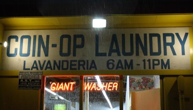 Launderworld, 2307 Folsom on a rainy Saturday.