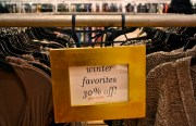 A sale rack at Weston Wear to entice the frugal shoppers who were prevalent this holiday season.