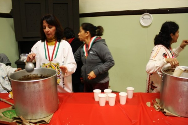 At the community room next door to the basilica: hot chocolate, coffee, and tamales.