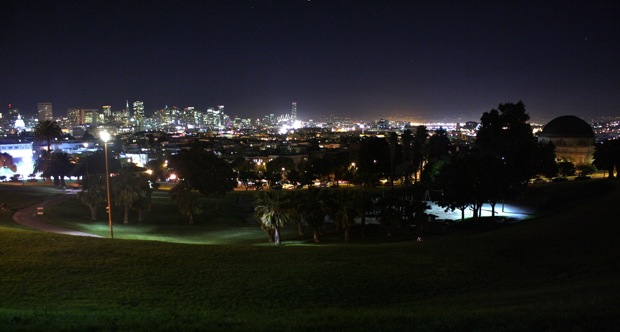 Hopefully this view is familiar, but take the Muni J over the hill on Church Street at night for roller coaster like views of Dolores Park, the Mission and the Civic center and financial district all lit up