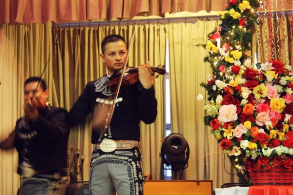 A mariachi band provided music both for the service and for the crowd gathered in the community room.