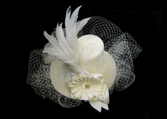 Miniature white felt top hat with veil and peacock feather by Tricia Roush of House of Nines at ADS Hats.