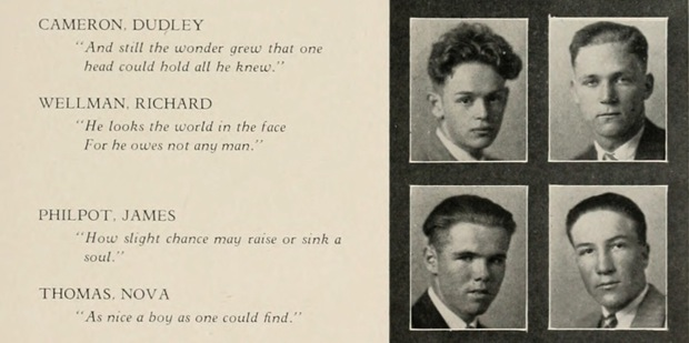 """Proof that yearbook quotes have been deeply strange since at least 1928. Prize for the most intense goes to James Philpot """" """"How slight chance may raise or sink a soul."""""""