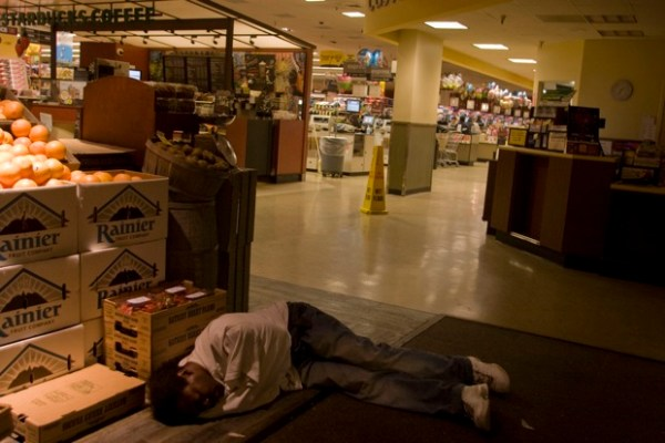 A call to Safeway: a man is just about unconscious on the floor. EMS is called if there is any doubt about intoxication versus a medical crisis; if the person cannot walk on their own they go to the hospital.
