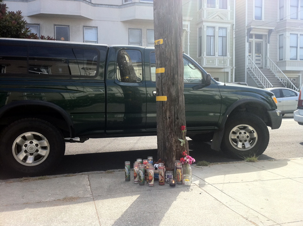An altar has sprout up near the intersection of 20th and Hampshire Streets.