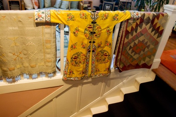 Clothing design becomes interior design in Ms. Kett's living space, where members of the congregation once climbed the stairs to the hall.