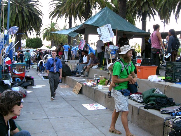 The OccupySF encampment at Justin Herman Plaza is a virtual mini-city. Photo by John C. Osborn
