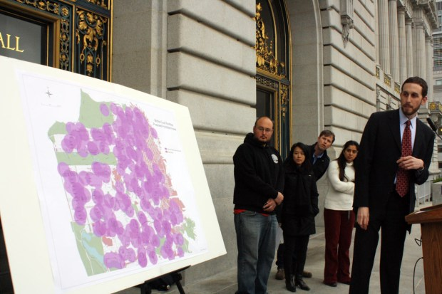 A map produced by Supervisor Scott Wiener's office shows where food trucks won't be allowed to operate under AB 1678