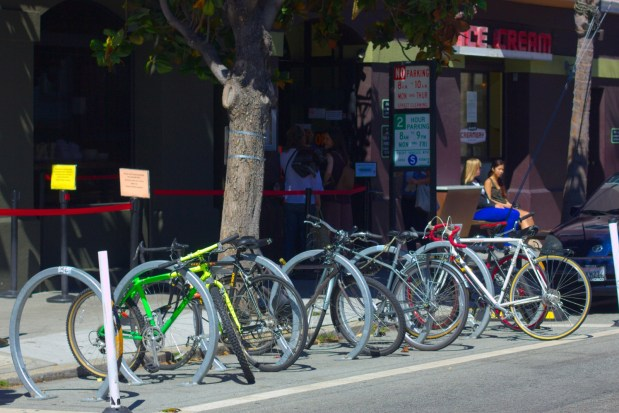 The Bike Corrals outside Bi-Rite Creamery provide parking to both customers and employees.
