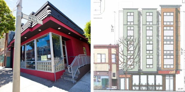 On the left, a photo of existing structure, currently the restaurant Sugoi. On the right, a copy of the plans for the new building dated April 2, 2012 on file with the Planning Department.