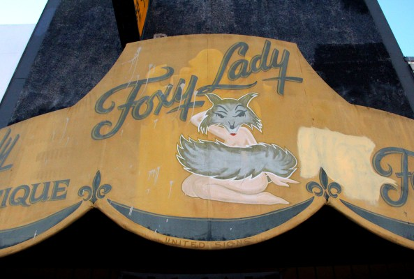 The Foxy Lady Boutique awning outside on Mission Street.