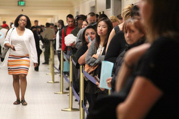 A long line at City Hall Tuesday night. Polls officially closed at 8 p.m., but stayed open for voters who were already in line. Photo by Yousur Alhlou.