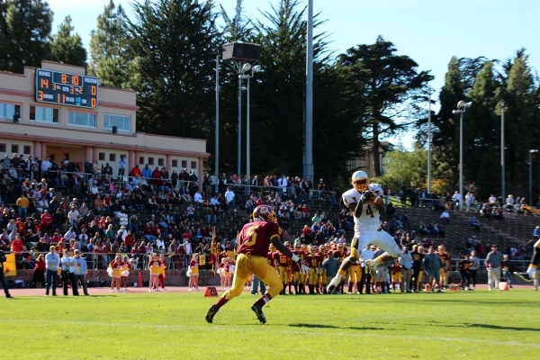 Armani McFarland of Mission High School intercepts a pass in the third quarter.