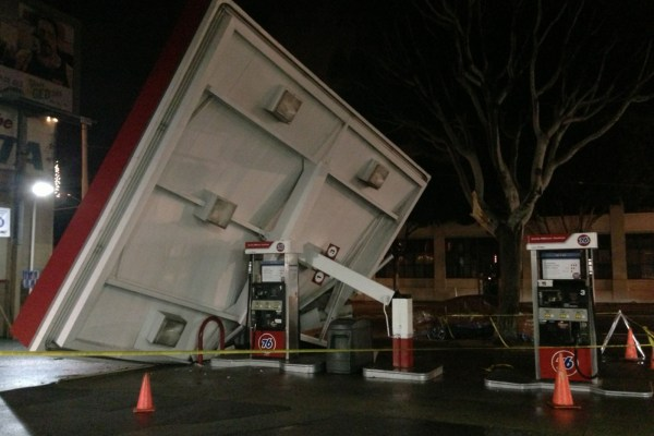 The overhang at a 76 gas station at 17th St. and Potrero Ave. collapsed this afternoon. Photo by David White.