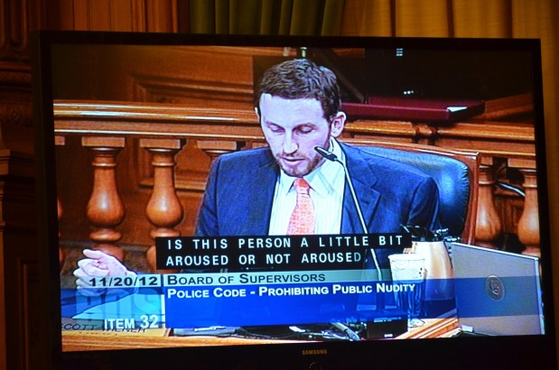 Supervisor Scott Wiener discusses his side of the nudity ban debate in November. Photo by Steve Rhodes/Flickr.