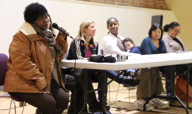 Eight female panelists spoke at the Green Party-sponsored forum at the Women's Building Saturday night. From left to right: Marie Harrison, Nicole Derse, Kim-Shree Maufas, Sandra Lee Fewer and Christina Olague.