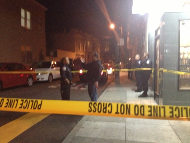 Police officers blocked off Natoma Street, Between 14th and 15th streets, on Monday night after a shooting.