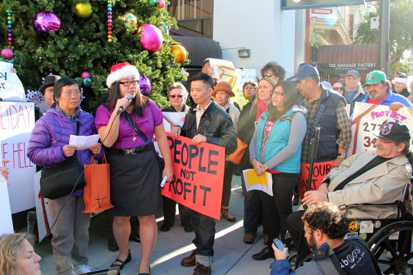 Tenants and supporters protest the Ellis Act at 18th and Castro streets.