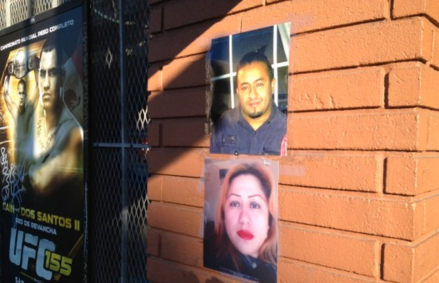 Photos of collision victims Francisco Gutierrez and Silvia Tun Cun at Muzio's Wine Liquor Store. Photo by Carly Nairn