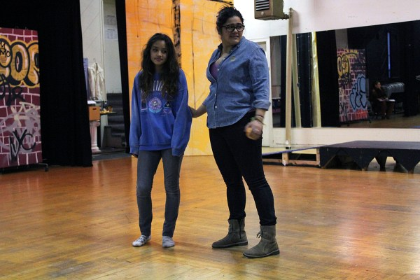 "Angelina Orellana (right) rehearses with another actress for ""In and Out of Shadow"" January 15."