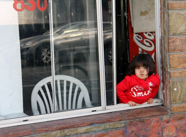 A little girl looks out the window of a laundromat.