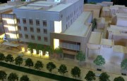 A model of a new plan to rebuild St. Luke's hospital on Cesar Chavez Street.