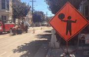 Construction crews replace sewer pipes on Shotwell Street as part of 24th Street repaving project.