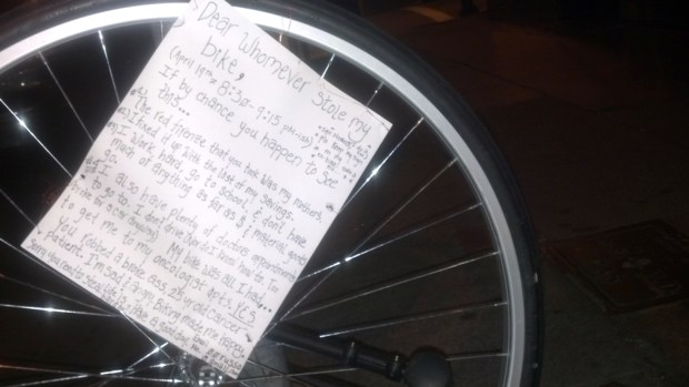 A note to a bicycle thief was left on a lone tire on Valencia Street. See below to read a clear version of it.