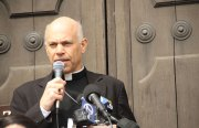 San Francisco Archbishop Salvatore Cordileone speaks at the historic Mission Dolores, May 13.