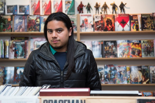 Daniel Parada, at the store Mission: Comics & Art, one of the first places where he distributed his work.