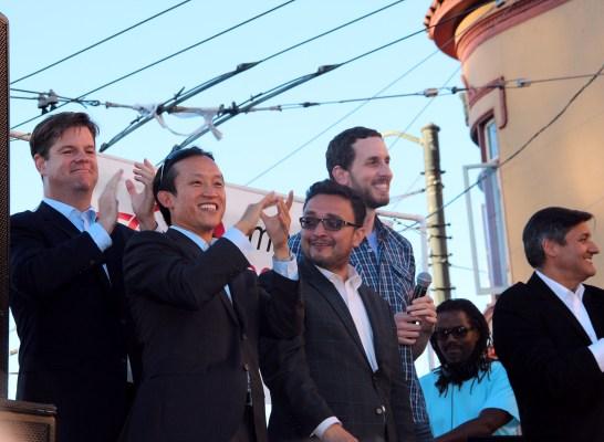 (Left to right) San Francisco Supervisors Mark Farrell, David Chui, David Campos, Scott Weiner and Treasurer José Cisneros represented San Francisco's local government.