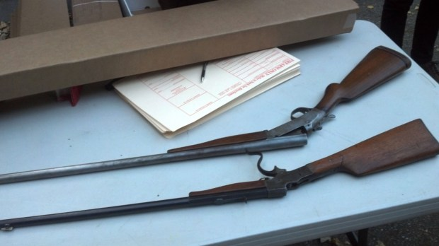 Two guns that were turned in at the gun buyback.