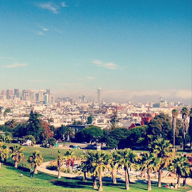 Sun shines over Dolores Park in this