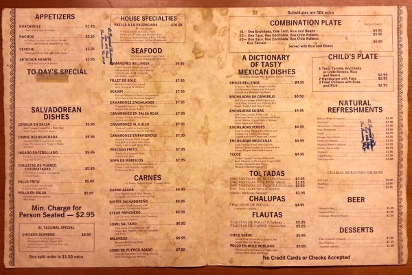 This undated menu is from El Tazumal when it was located at 3522 20th Street. Any guesses on what year this might be from?