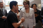 House of Representatives Minority Leader Nancy Pelosi talks to a student at John O'Connel High School on Saturday.