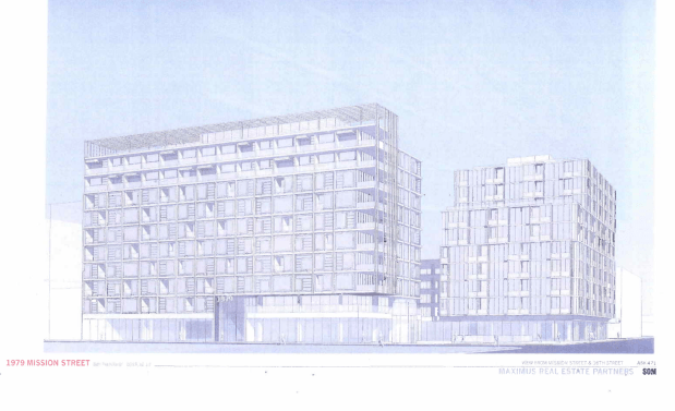 A sketch of the proposed redevelopment of 16th and Mission from the Preliminary Project Assessment.